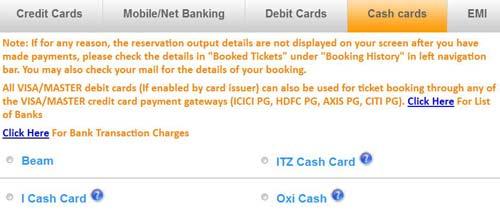 Cash Cards Payment Options