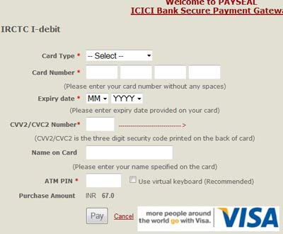 Icic bank debit card entry form