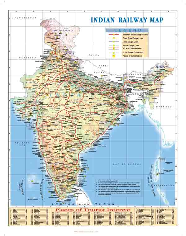 Train route map in India
