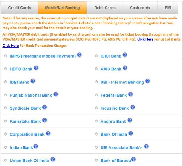 Netbanking Payment Option