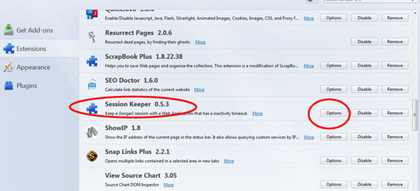 Session Keeper as shown in firefox extensions